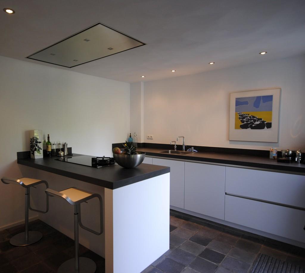 Moderne keuken met schiereiland - Moderne keuken muurdecoratie ...