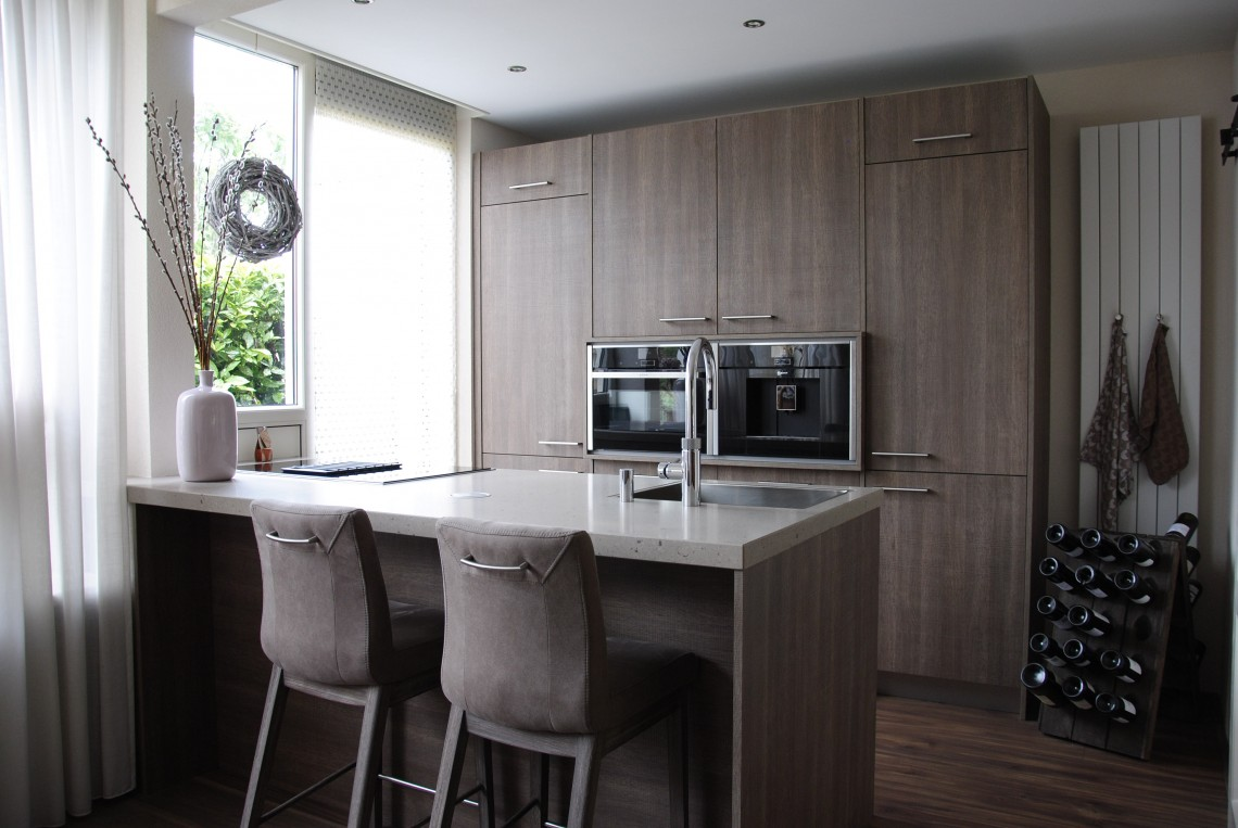 Keuken Houten Schiereiland : Het design van moderne keuken lichte interieur met houten accenten