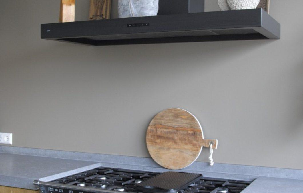 Houten keuken en stoves fornuis